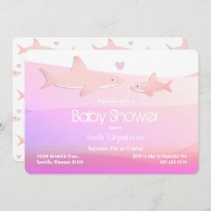 Cute Sharks and Ocean Pink White Invitation