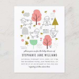 Cute Sheep Baby Girl Shower Postcard Invitation