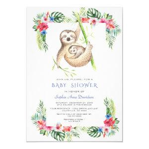 Cute Sloths Tropical Flowers Frame Baby Shower Invitation
