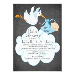 Cute Stork Chalkboard Boy Baby Shower Invitatation Invitation