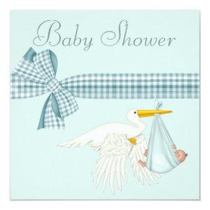 Cute Stork Delivering Baby Boy Blue Baby Shower Invitation
