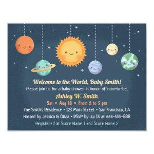 Cute Sun and Planets Space Baby Shower Invitation