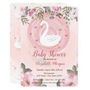 Cute Swan,Floral Baby Shower Invitation