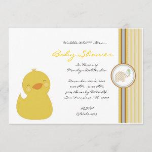 CUTE Sweet Yellow Ducky Baby Shower Invitation