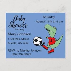 Cute T-rex Dinosaur Playing Soccer Baby Shower Invitation Postcard