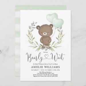 Cute Teddy Bear With Balloons Neutral Baby Shower Invitation