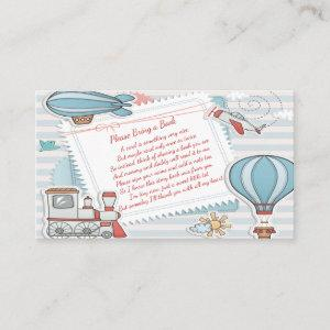 Cute Travel Themed Baby Shower Bring a Book Card