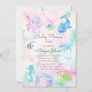 Cute under the sea Baby Shower by mail invitation