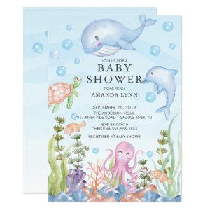 Cute Under the Sea Boy Baby Shower Invitation