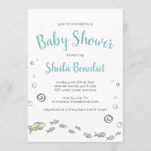 Cute Under The Sea Fish Baby Shower Invitation