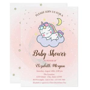Cute Unicorn, Cloud, Stars Baby Shower Invitation