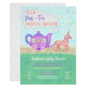 Cute Unicorn Tea Party Baby Shower Invitation