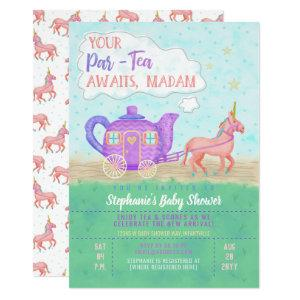 Cute Unicorn Tea Party Baby Shower Invitation V2