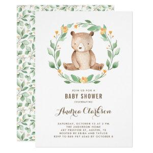 Cute Watercolor Baby Bear Woodland Baby Shower Invitation