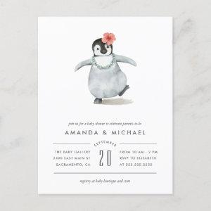 Cute Watercolor Baby Girl Penguin Baby Shower Invitation Postcard