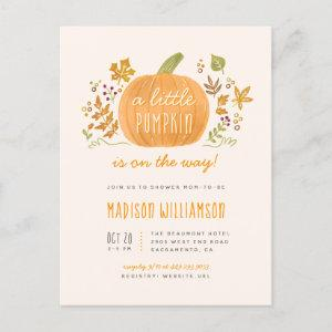 Cute Watercolor Fall Little Pumpkin Baby Shower Invitation Postcard