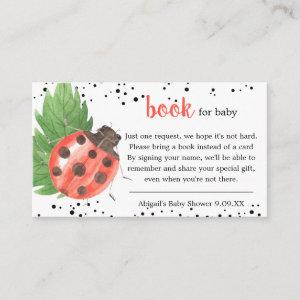 Cute Watercolor Ladybug Book Request Baby Shower Enclosure Card