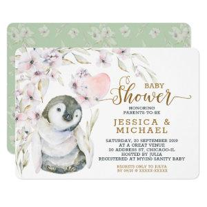 Cute Watercolor Penguin Gender Neutral Baby Shower Invitation