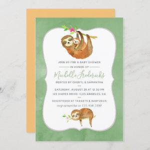 Cute Watercolor Sloth themed Baby Shower Invite