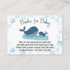 Cute Whale Baby Shower Watercolor Books for Baby Enclosure Card