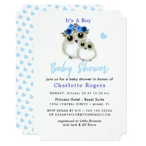 Cute Whimsy Fluffy Owl Blue Heart Baby Boy Shower Invitation