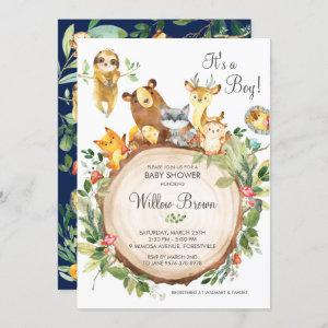Cute Woodland Animals Baby Shower Boy Neutral Invitation