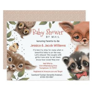 Cute Woodland Animals Baby Shower By Mail Invitation