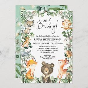 Cute Woodland Animals Baby Shower Forest Greenery