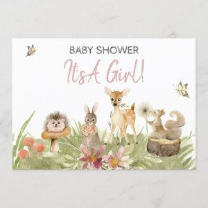 *~* Cute Woodland Forest Animal Girl Baby Shower Invitation