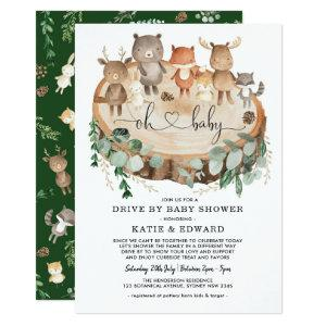 Cute Woodland Forest Animals Drive By Baby Shower Invitation