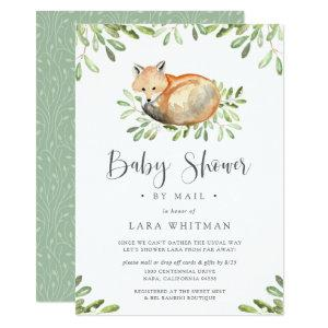 Cute Woodland Fox Baby Shower by Mail Invitation