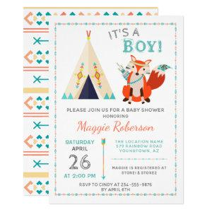 Cute Woodland Fox Boho Teepee Boy Baby Shower Invitation