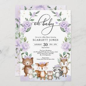 Cute Woodland Purple Floral Greenery Baby Shower Invitation