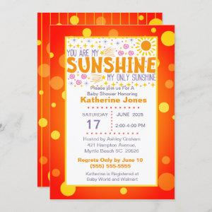 Cute You Are My Sunshine Baby Shower Invitation