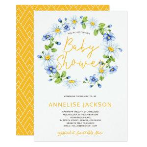Daisies wreath yellow blue baby shower invitation