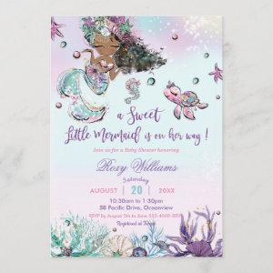 Dark Skin Mermaid Baby Shower Under the Sea Girl Invitation