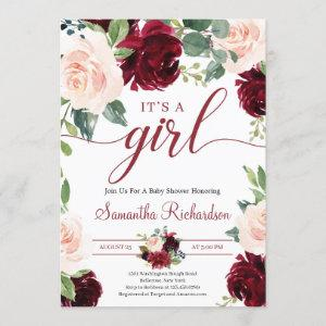 Deep Merlot Florals Maroon and Navy It's A GIrl Invitation