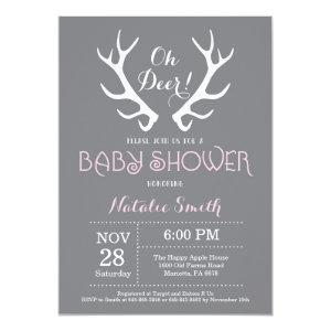 Deer Antler Baby Shower Invitation Gray and Pink