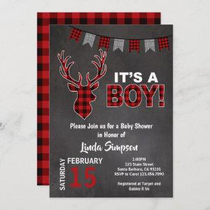 Deer Baby SHOWer Buffalo Plaid Red and Gray Invitation