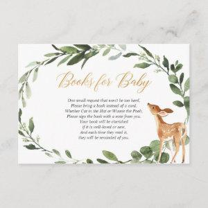 Deer baby shower gold greenery book request insert
