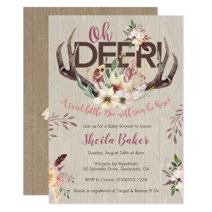Deer Baby Shower Invitation - Antlers Invite Girl