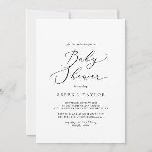 Delicate Black Calligraphy Baby Shower Invitation