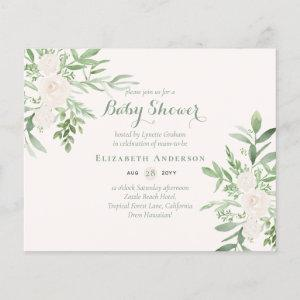 Delicate Floral Themed Baby Shower Invites BUDGET