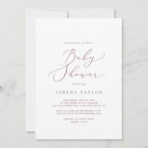 Delicate Rose Gold Calligraphy Baby Shower Invitation