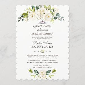Delicate White Flowers Invitación de Baby Shower Invitation