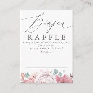 Diaper Raffle Dusty Pink Floral Baby Shower Ticket Enclosure Card