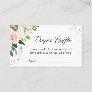 Diaper Raffle Elegant Blush Floral Baby Shower Enclosure Card
