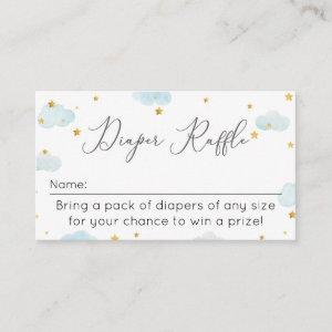 Diaper Raffle Moon & Stars watercolor baby shower Enclosure Card