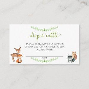 Diaper Raffle Ticket Baby Shower Woodland Greenery Enclosure Card