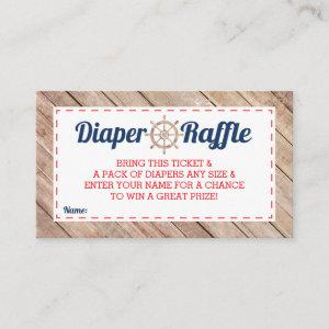 Diaper Raffle Ticket, Nautical, Blue, Red Enclosure Card